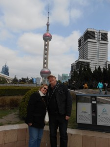 Barbara and Ron in front of the Oriental Perl TV tower